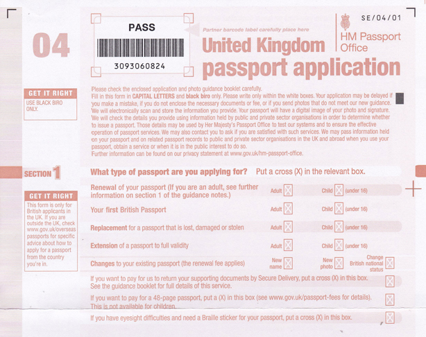 Application Form Application Form To Renew British Passport
